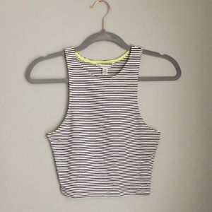 American Eagle Crop Tank Top Striped Was Ribbed